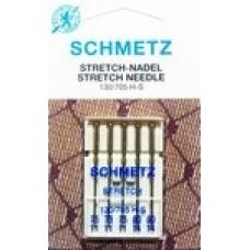 Иглы для бытовых швейных машин и оверлоков Stretch №75 (2шт), №90 (3 шт)