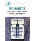 Иглы для бытовых швейных машин  двойные Jeans №100, расстояние между иглами 4мм (1 шт) (код 13)
