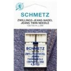 Иглы для бытовых швейных машин  двойные Jeans №100, расстояние между иглами 4мм (1 шт)