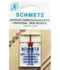 Иглы для бытовых швейных машин и оверлоков двойные Universal №80, расстояние между иглами 4 мм (1 шт) (код 13)