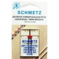 Иглы для бытовых швейных машин и оверлоков двойные Universal №80, расстояние между иглами 4 мм (1 шт)